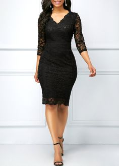 wholesale Black Three Quarter Sleeve V Neck Lace Dress Trendy Dresses, Women's Fashion Dresses, Cute Dresses, Dress Outfits, Casual Dresses, Fashion Clothes, Lace Dress With Sleeves, Lace Sheath Dress, Pretty Outfits