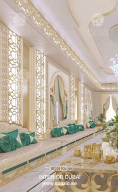 Arabic majlis interior design in modern luxury style. The design was created by Spazio interior design company in Dubai. Get design ideas. Interior Design Dubai, Luxury Homes Interior, Modern Interior, Arabian Decor, Arabian Bedroom, Moroccan Design, Moroccan Colors, Palace Interior, Apartment Interior