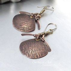 Handmade Wire Earrings | Wire Wrapped Jewelry Handmade Mixed Metal by IntuitiveGlass