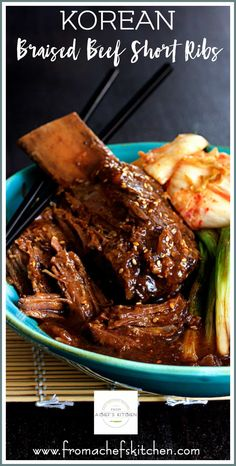 Korean Braised Beef Short Ribs are slightly spicy, slightly sweet and totally amazing! Slow-braising makes them fall-off-the-bone tender! The Effective Pictures W Best Dinner Recipes, Rib Recipes, Slow Cooker Recipes, Asian Recipes, Cooking Recipes, Healthy Recipes, Asian Desserts, Asian Foods, Crockpot Recipes