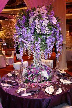 Wedding table setting - purple by InterContinental Hong Kong, via Flickr