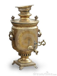 Russian samovar - wonderful for keeping water hot. Place a teapot of concentrated tea on top to keep warm and you've got tea instantly at any time of the day. The old ones used coal in the center chute to keep the water hot. Pictured:  tarnished silver , or old rubbed brass.