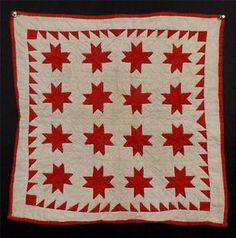 "Antique Red White ""Variable Star"" Doll Quilt, c. 1880-1890, 19 1/4 x18 1/4"" | eBay, katmann"
