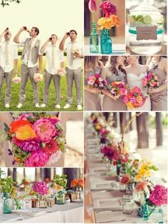 love the guys - drinking a beer and holding flowers. I hope the groomsmen will have this much fun.