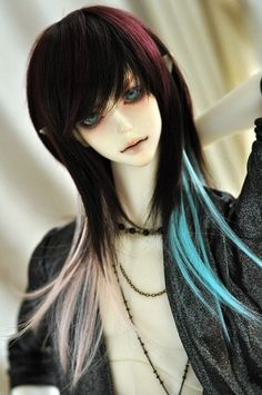 "1//3 8-9/"" BJD Doll Wig Black Big Curly Curls Wavy Hair Long HUAL-12"