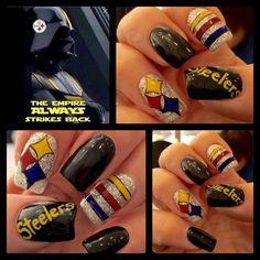 Hand Painted Steelers nail art by Christine (artsychris) Instagram