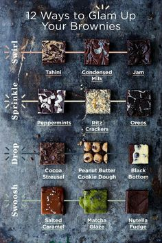 Straight from the brilliant mind of 12 ways to glam up your brownies! Take your favorite brownie recipe and then swirl, sprinkle, drop, and Cookie Dough Cake, Chocolate Chip Cookie Dough, Chocolate Brownies, Box Brownies, Easy Brownies, Blondie Brownies, Caramel Brownies, Smores Brownies, Cheese Brownies