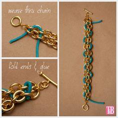 DIY Chain Bracelet with Studs Weaving Cord   ❥Teresa Restegui http://www.pinterest.com/teretegui/❥