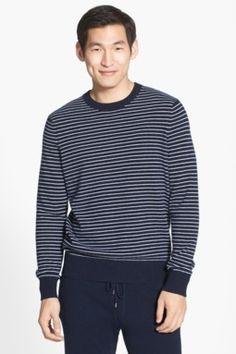 Stripe Wool Blend Crewneck Shirt
