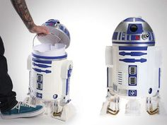 """R2-D2 Trash Can: """"Have you heard the news?  R2D2 is picking up your refuse.    The iconic little droid is excited to be in your employ.   So as you bid your trash adieu, remember, the force will always be with you"""""""