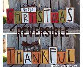 Christmas winter reversible seasonal decor wood block set personalized sign gift Fall autumn thanksgiving