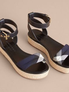 Burberry espadrille platform sandals in leather and English-woven House check cotton, with adjustable ankle straps. Style with everything, from dresses to denim
