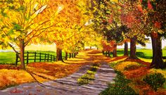 Eudi Cea paisaje otoñal óleo sobre tela de 70 x 40 cm. Segundo cuadro de Eudi... Original a partir de foto. Bien.