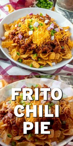 A thick, delicious chili on top of Fritos corn chips makes these amazing meal called Frito Chili Pie! Sometimes called 'walking tacos' too. Easy Healthy Recipes, Easy Dinner Recipes, Meat Recipes, Mexican Food Recipes, Chicken Recipes, Cooking Recipes, Cooking Chips, Halal Recipes, Cooking Gadgets