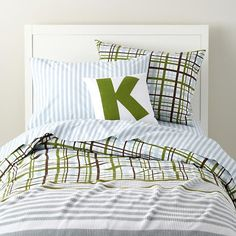 The Land of Nod | Boys Bedding: Plaid and Striped Kids Bedding in Boy Bedding