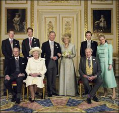 Pictured in this photo are: In the back row (L to R) Prince Harry, Prince William, Tom and Laura Parker Bowles. In the front row (L to R) are Duke of Edinburgh, Britain's Queen Elizabeth II and Camilla's father Major Bruce Shand.