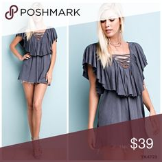 PREORDER Cotton sub criss cross flutter detail top COTTON SLUB JERSEY TOP FEATURES V-NECK WITH CRISS CROSS DETAIL AND RUFFLED NECKLINE IN A FLARED BODY. CUSTOM MADE FABRICATION IN THE USA. Tops Tunics