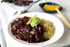It's #Jajangmyeon !!  korean noodles with black been sauces. I try this dish a while a go, originally this dish contains pork. FYI, I am moslem,so Idon't eat pork, BUT, i think i forget to ask the ahjumma is the one that i am trying contains pork :(  pic source: mykoreankitchen.com