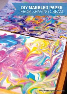 creative art DIY Marbled Paper is quick and easy to make with shaving cream, food coloring, and a little water. Theres so much room for creativity, and your kids can use the final product for more fun kids crafts and art projects. Fun Crafts For Kids, Summer Crafts, Projects For Kids, Art For Kids, Craft Projects, Arts And Crafts, Infant Art Projects, Infant Crafts, Artwork For Kids