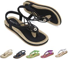 Womens Diamante Slip On Wedge Heel Flat Sandals Peep Toe Slingback Beach Sandals
