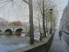 Thierry Duval was born in Paris, France. His watercolors are characterized by a strong light and precision in drawing, being almost or hyperrealist in the results mainly in his Paris watercolors. Watercolor City, Watercolor Images, Watercolor Artists, Watercolor Landscape, Watercolor Paintings, Watercolors, Watercolour Techniques, St Louis, Ile Saint Louis
