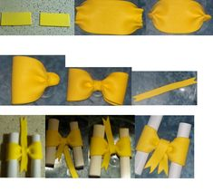 making a fondant bow Fondant Bow, Fondant Toppers, Fondant Tutorial, Fondant Flowers, Fondant Cakes, Cupcake Cakes, Cake Decorating Techniques, Cake Decorating Tutorials, Making Fondant