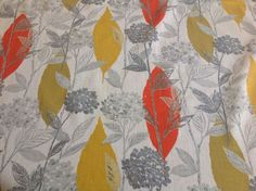 VTG retro fabric material 50s 60s barkcloth abstract floral & leaf mid century