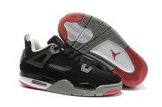Womens Nike Jordan IV 4 Black Grey Red Women Sneaker