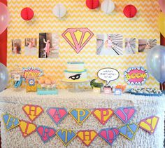 "Comic book style ""super girl"" birthday party. Can be done for boys too with different colors. So cute."