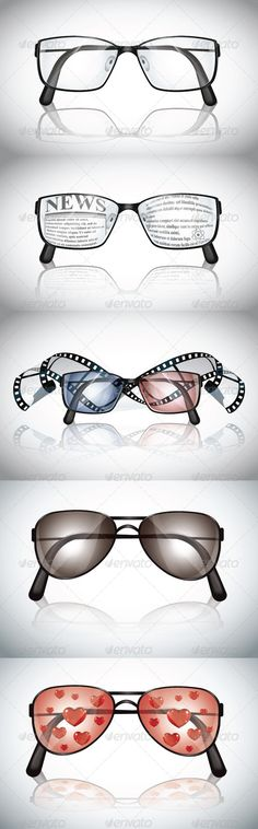 "Eyeglasses Set  #GraphicRiver        Includes:  	 FOLDER: ""Eyeglasses Set – JPG"" Contains: 5 jpg images  	 FOLDER: ""Eyeglasses Set – EPS"" Contains: 5 fully editable Vector Object EPS. Minimum Adobe Illustrator CS Version – CS10.  	 FOLDER: ""Eyeglasses Set – AI"" Contains: 5 fully editable AI file. Minimum Adobe Illustrator CS Version – CS10. The image is made up entirely of vector shapes so you may resize to whatever size you need.     Created: 28August13 GraphicsFilesIncluded: JPGImage…"