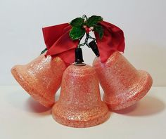 """Vtg 50s Xmas Decoration Lights Red Frosted Bells Ornament Cluster 5"""" Holly Berry"""