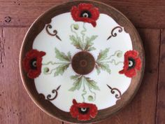Plate with Poppies and Gold Trim