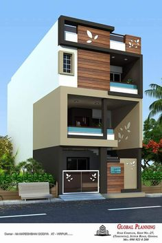 Exterior Elevations Of Independent Houses Design Modern exterior Bungalow House Design, House Front Design, Cool House Designs, Modern House Design, Front Elevation Designs, House Elevation, Home Building Design, Building A House, Indian House Plans