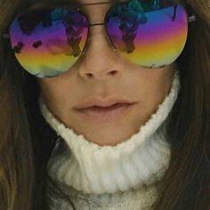 Victoria Beckham rainbow aviators