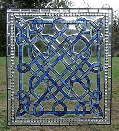 """Click photo for details. Celtic Country Blue Stained Glass Window. 24"""" x 27"""""""