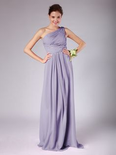 "One Shoulder Pleated Chiffon Bridesmaid Dress in ""Wisteria"""
