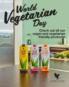 Full with nutritions and vitamins! For a healthier you! World Vegetarian Day, Vegan Vegetarian, Forever Aloe Gel, Forever Living Business, Forever Living Products, Start The Day, Aloe Vera Gel, Healthier You, Vegan Friendly