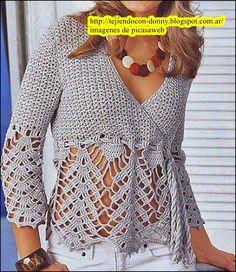 Crochet Jumper, Crochet Blouse, Knit Crochet, Kurti With Jeans, Dressy Jackets, Hairpin Lace, Tunisian Crochet, Dressy Tops, Crochet Woman