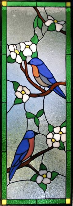 bluebirds dogwood cabinet door insert by AGlassMenagerie.net #StainedGlassPainting