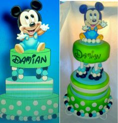 1st Birthday Baby Mickey Mouse Tier Design & Cake by Artistic Eats by Annie Kedziorski