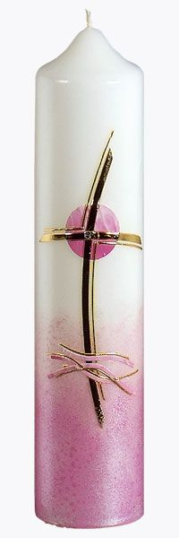 Taufkerze, Nr. 1309, Höhe=265mm, Ø=60mm, rosa, gold