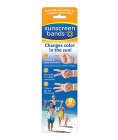 Sunscreen Bands - Slip these bracelets on your kids (and yourself!) before heading to the beach or the pool. The disposable band changes color when it's time to reapply the SPF. To buy: $12 for 10, sunscreenbands.com.