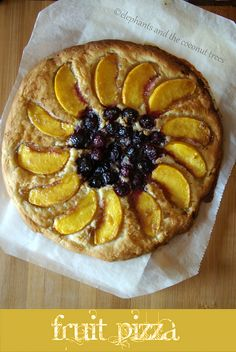 Peach and Blueberry Baked Fruit Pizza. Warm bread with tender sweet fruit on it and a dollop of cream if u like,to enjoy the last of summer. #SummerSoiree  #LaborDay