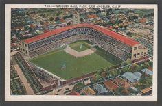 Wrigley Field Los Angeles Angels Pacific Coast League Baseball Postcard Air View