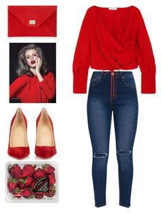 """Red"" by melaniemeran ❤ liked on Polyvore featuring Adeam, Jimmy Choo, Christian Louboutin and FRUIT"