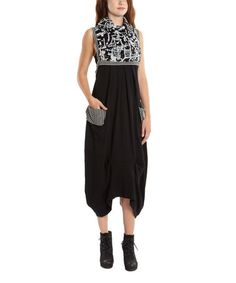 This Black & White Abstract Brushstroke Empire-Waist Dress - Plus by La-El Couture is perfect! #zulilyfinds