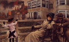 The Athenaeum - Waiting for the Ferry (James Tissot - )Owner/Location: Private collection Dates: circa 1878 Artist age:Approximately 42 years old. Dimensions: Unknown Medium: Painting - oil on panel