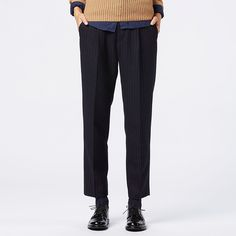 WOMEN Tweed Relaxed Striped Ankle Length Trousers