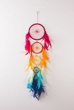 DIY Rainbow Five Tier Dream Catcher.