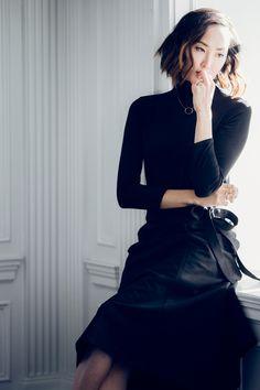 black turtleneck & skirt - The Chriselle Factor